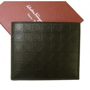 フェラガモ 財布 メンズ バイカラー ガンチーニモノグラム 二つ折|piazza