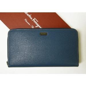 フェラガモ 長財布 ラウンドファスナー ペブルカーフ トラベル*大きめサイズ