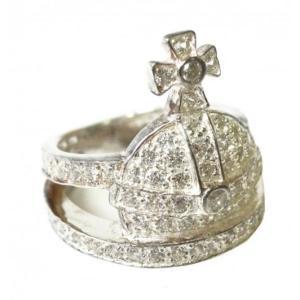 ヴィヴィアン リング Mサイズ(約15号) Orb Ring Silver White CZ Silversterling Siver Plating|piazza