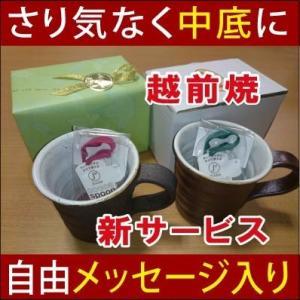 名入れサプライズ中底に自由メッセージ入り越前焼マグカップ+クリップ式スプーン/受験生クリスマスプレゼントギフト贈り物(ココアセット)|picklip