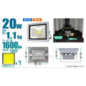 LED投光器 20W 200W相当 防水 LEDライト 作業灯 防犯 ワークライト 看板照明 昼光色 一年保証 4個セット (クーポン配布中) |pickupplazashop|02