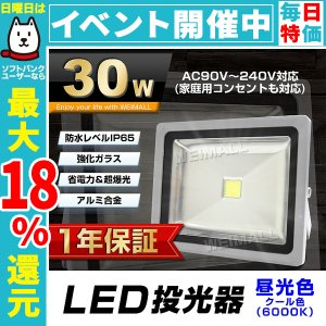 LED投光器 30W 300W相当 防水 LEDライト 作業灯 防犯 ワークライト 看板照明 昼光色 一年保証|pickupplazashop
