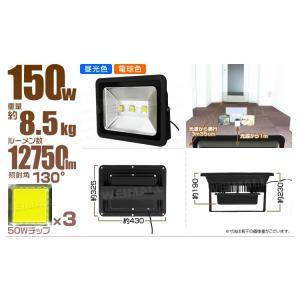 LED投光器 150W 1500W相当 防水 LEDライト 作業灯 防犯 ワークライト 看板照明 昼光色 一年保証 10個セット|pickupplazashop|02