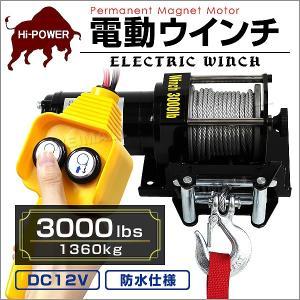 電動ウインチ 12v 3000LBS ウインチ 1361kg 電動ホイスト DC12V  (クーポン配布中)|pickupplazashop