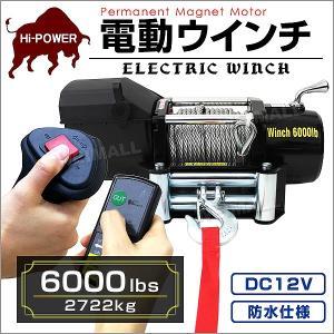 電動ウインチ 12v 6000LBS(2722kg) DC12V 有線コントローラー & 無線リモコン付  (クーポン配布中)|pickupplazashop