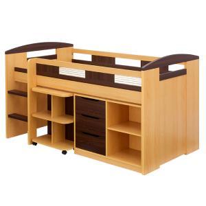 システムベッド ロフトベッド システムベッドデスク 学習机 子供部屋 木製 子供 ロータイプ システムデスク デスクベッド Shelm4(シェルム4) 5色対応