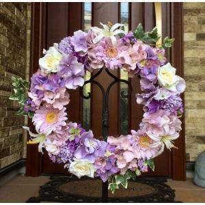 フラワーリース ギフト 造花 玄関リース あじさいとガーベラのリース 33cm No.wreath-14844
