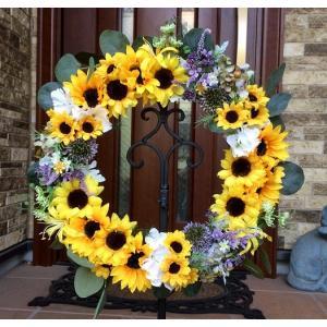 フラワーリース ギフト 造花 玄関リース ひまわりのリース 40cm No.wreath-14845