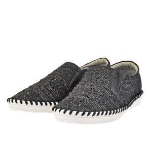 レディース 靴 カジュアルシューズ マドラス モデロ ビジュー付き スリッポン 送料無料 ブラックテクスチャー DML6026BLA-TX|pieds