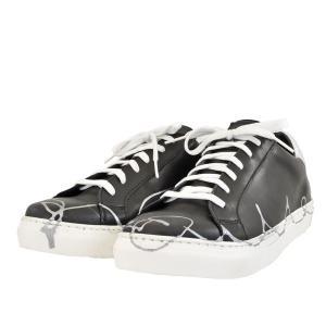 メンズ 靴 スニーカー オロビアンコ イタリア製 ハンドペイント レザースニーカー ネロ(ブラック)FAENZABLK pieds
