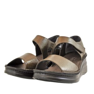 レディース 靴 サンダル インコルジェ 日本製 オープントゥ 厚底 フットベット ストラップ セパレートサンダル 送料無料 メタリックブラウン Incholje4142MBR|pieds