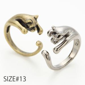 巻き付くネコ リング アニマルデザイン 動物 猫 ユニーク ポップ 13号
