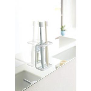 歯ブラシスタンド 吸盤トゥースブラシホルダー ミスト ホワイト 2本 シェーバーホルダー|piena