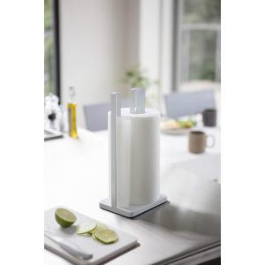 キッチンペーパーホルダー 片手で切れる タワー ホワイト ブラック 置き型 キッチン雑貨