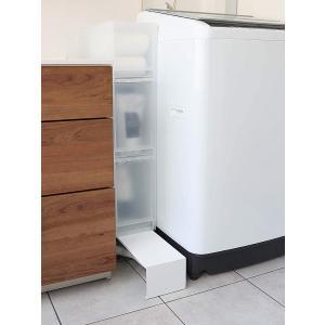 伸縮 洗濯機隙間ラック ホワイト ブラック タワー 伸び縮み 排水溝上 洗濯機横収納台|piena
