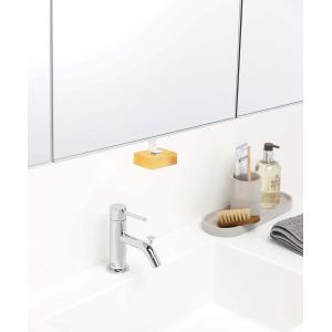 洗面戸棚下マグネットソープホルダー 石鹸置き 浮かせて収納 ネジで固定 水はけが良い 衛生的 清潔 ...