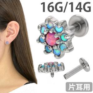 ボディピアス オパールフラワーヘッドインターナルラブレット 16G 14G ボディーピアス 軟骨ピアス トラガス ヘリックス|piercing-nana