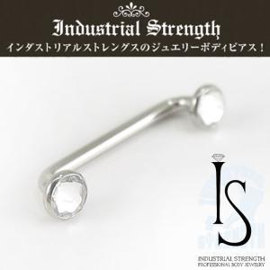 ボディピアス 14G サーフェイス インダストリアルストレングス クリスタルディスクチタンサーフェイス ボディーピアス Industrial Strength|piercing-nana