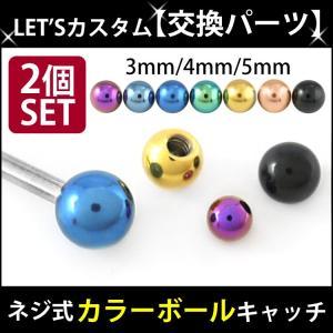 ボディピアスパーツ 2個セット ネジ式 18G 16G 14G バーベル用 カラー ステンレスボール スクリュー キャッチ ボディーピアス piercing-nana