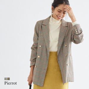 ジャケット チェック柄 ダブルボタン アウター 羽織り スタイルアップ オフィス 上品 きれいめ 秋 レディース あすつく|pierrot-webshop