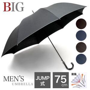 傘 雨傘 送料無料 メンズ 紳士 無地 ストライプ グラスファイバー おしゃれ 丈夫 75cm 大きい 耐風 ジャンプ式 父の日 /メール便不可|pierrot