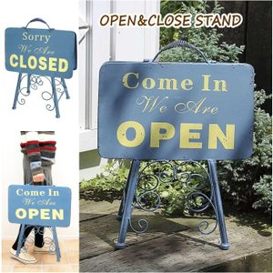 オープン&クローズlowスタンド 看板 オープンスタンド クローズ ウェルカムボード アイアン 案内板 店舗用 両面 おしゃれ ガーデニング 7042 村田屋産業|piglet