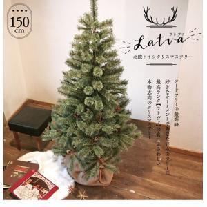 P10倍)クリスマスツリー ヌードツリー ラトヴァ 150cm オーナメントが映えるドイツトウヒ松 北欧 幹が目立たない作り 松ぼっくり28個付 手袋、収納セット付 pika-q