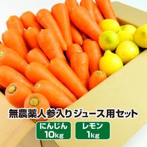 (送料無料)無農薬にんじん野菜セット(無農薬にんじん10kg+レモン2kg)(コールドプレスジュース用) (朝食キット)|pika831