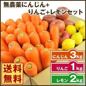 (送料無料)無農薬にんじん野菜セット(無農薬にんじん3kg+りんご1kg+レモン2kg)(にんじんジュース キット)(コールドプレスジュース用) (朝食キット) pika831