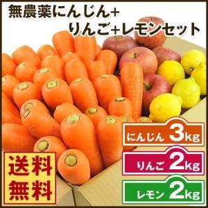 (送料無料)無農薬にんじん野菜セット(無農薬にんじん3kg+りんご2kg+レモン2kg)(にんじんジュース キット)(コールドプレスジュース用) (朝食キット) pika831