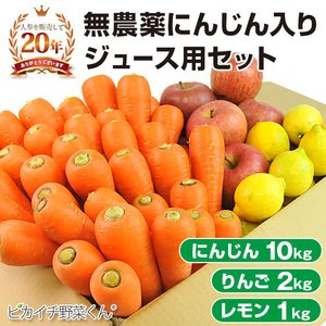 (送料無料)無農薬にんじん野菜セット(無農薬にんじん10kg+りんご2kg+レモン1kg)(にんじんジュース キット)(コールドプレスジュース用) (朝食キット) pika831