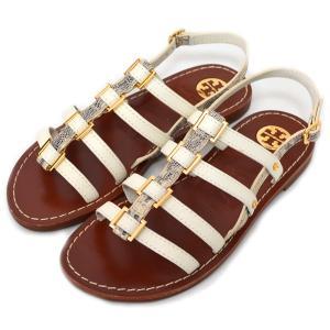 トリーバーチ 靴 TORY BURCH パイソンレザー フラット サンダル パンプス ホワイトマルチ 24cm 20150415|pike-st