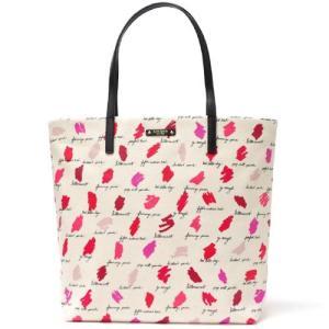 ケイトスペード最新作のトートバッグ!リップカラーを試し塗りしたような個性的なバッグ*軽くてちょうどい...