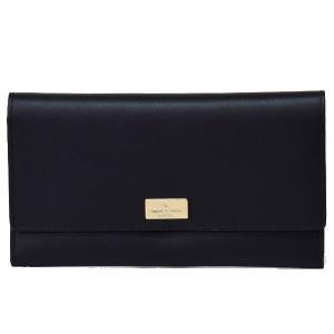 ケイトスペードから新作日本未発売長財布が登場*オールレザーでシンプルにデザインされ、ゴールドのロゴプ...