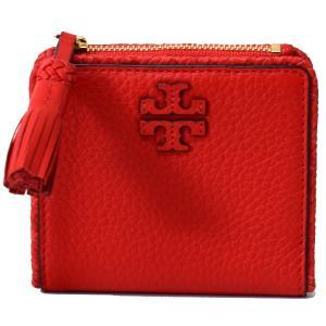 56f6697be44b トリーバーチ 財布 TORY BURCH レザー アップリケ ロゴ タッセル 二つ折り コンパクト財布 ポピーオレンジ 52722
