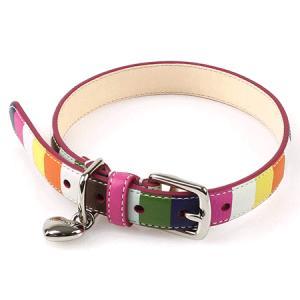 コーチ ペット用品 COACH レガシー ストライプ ハート チャーム ドッグカラー XS 犬の首輪 62757|pike-st