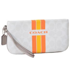 コーチ マルチポーチ COACH シグネチャー ストライプ ダブル ジップ フォン リストレット ポーチ オレンジ 66463|pike-st