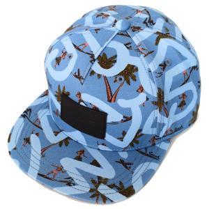 コーチ COACH コットン レザー キースへリング コラボ フラダンス プリント フラット ブリム ハット キャップ 帽子 ブルーサーファー 66988|pike-st