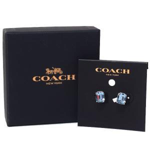 コーチ ジュエリー COACH ゴールドプレーテッドブラス エメラルド カット スタッド イヤリング ピアス 専用BOX付 ブルー×シルバー 73036|pike-st
