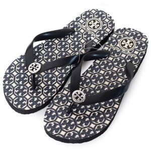 トリーバーチ 靴 TORY BURCH ラバー ロゴ プリント ビーチ サンダル ブラックマルチ 6M 90008651-960|pike-st