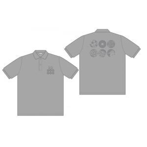 六文銭 ポロシャツ グレーMサイズ|pin-bigwave