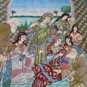 ペルシャ絨毯イラン/タブリーズ産ピクチャーデザイン W-7