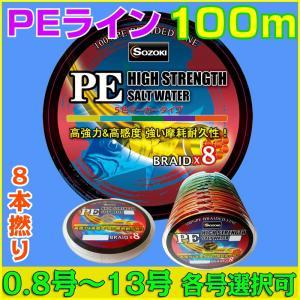 PEライン 100m~連結【0.8~8号】8編 5色 0.8号/1号/1.5号/2号/2.5号/3号...