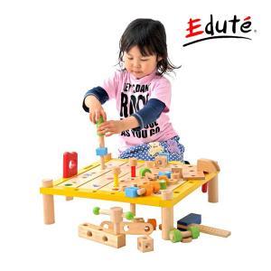 木製玩具 エデュテ アイムトイ カーペンターテーブル 木のおもちゃ 大工さん 工具 ワークベンチ ギフト  誕生日 人気 ボーイズトイ 連休 帰省 プレゼント|pinkybabys