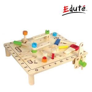 知育玩具 ABCカーペンターテーブル エデュテ アイムトイ おもちゃ 木製玩具 ごっこ遊び 男の子 女の子 木のおもちゃ 誕生日 プレゼント クリスマス|pinkybabys