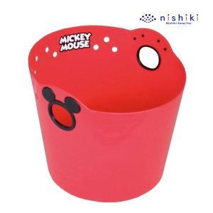 おもちゃ箱 ミッキーマウス やわらかバケツ R36 丸型 レッド ※ギフト包装不可※ おもちゃ箱 収納 洗濯カゴ ケース 錦化成 nishikikasei box ボックス baby|pinkybabys