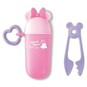赤ちゃん用お菓子 NEW ミニーマウス ヌードルカッター  PK 錦化成 食器 携帯用  子供用 幼児用 おでかけ 旅行 ディズニー 里帰り 帰省 baby|pinkybabys