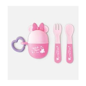 赤ちゃん用お菓子 NEW ミニーマウス スプーン&フォーク  PK 錦化成 食器 携帯用  子供用 幼児用 おでかけ 旅行 ディズニー 里帰り 帰省 baby|pinkybabys