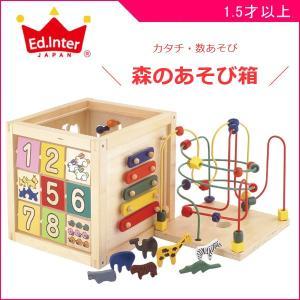 木製玩具 森のあそび箱 エドインター 木のおもちゃ 木琴 パズル 数合わせ ビーズコースター 迷路 ギフト 誕生日 プレゼント SNS クリスマス|pinkybabys