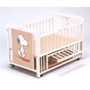 ベビーベッド 2WAYスヌーピー S-5 エコ ホワイト WH kintaro ベット キンタロー 赤ちゃん 新生児 ベビー キッズ 子供 baby kids child 出産準備 出産祝い|pinkybabys
